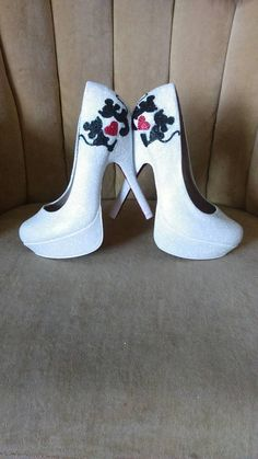 ce7ea6219b Minnie and Mickey mouse fan art high heels. Custom hand painted and sealed.  Tall heels . Short heels. Bridal shoes. Minnie mouse