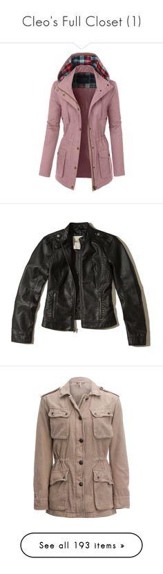 """Cleo's Full Closet (1)"" by brelea-1 ❤ liked on Polyvore featuring outerwear, jackets, military parka jacket, cotton jacket, cotton military jacket, red jacket, field jackets, black, vegan biker jacket and biker jackets"