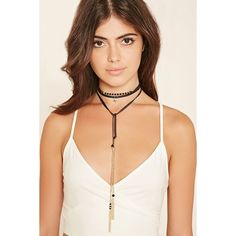 Forever 21 Ettika Tasseled Leather Choker ($38) ❤ liked on Polyvore featuring jewelry, necklaces, bead necklace, beaded choker necklace, leather chain necklace, layered necklace and tassel necklace