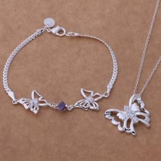 New-Hot-925-Sterling-Silver-Butterfly-Necklace-And-Bracelet-Set-FAST-FREE-SHIP