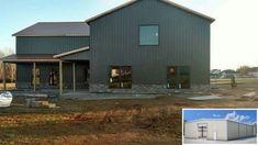 Grey metal sides, black windows, copper color metal roof, cedar posts and shutters Texas House Plans, Barn House Plans, Shop House Plans, New House Plans, Shop Plans, Metal Roof Houses, Metal Buildings, Metal Homes, Shop Buildings