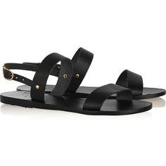 Ancient Greek Sandals Clio leather sandals ($135) ❤ liked on Polyvore featuring shoes, sandals, flats, slingback shoes, flat slingback shoes, sling back sandals, flat pumps and flat shoes