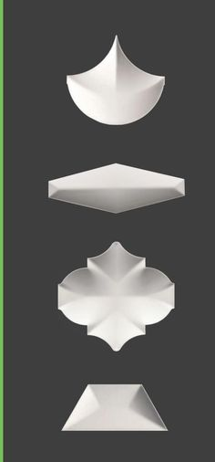 Textural Designs Ultra High Performance 3D Tiles. Shown from top in Manta, Honeycomb XXL, Oxford I and Anaya.
