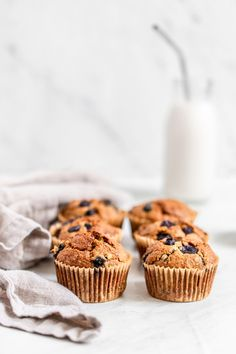 Oatmeal Banana Blueberry Muffins - perfectly sweet, soft and moist and grain-free. The best healthy muffins you'll ever make! Healthy Muffin Recipes, Healthy Muffins, Banana Bread Recipes, Healthy Meals, Blueberry Oatmeal Muffins, Blue Berry Muffins, Whole Wheat Banana Bread, Banana Treats, Nutritious Breakfast
