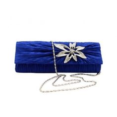 Dazzling Elegant Flower Rhinestone Handbag, Wedding Party Clutch Purse Chain Bag-Royal Blue