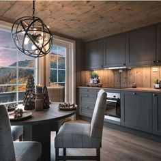 Kitchen Redo, Home Decor Kitchen, Kitchen Remodel, Küchen Design, House Design, Interior Exterior, Interior Design, Cabin Style Homes, Grey Kitchen Designs
