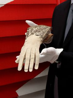 Queen Elizabeth 1 gloves are seen for the first time in public and on loan from the Dents private collection especially for Selfridges to mark the launch of the Big British Bang, the store's celebrations of the Jubilee-Olympics period at Selfridges on May 3, 2012 in London, England.