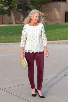 25a8684605d Velvet Jeans + Lace Top for Holiday Party Look - Holiday fashions for women  over 40