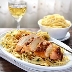 Garlic Butter Spaghetti and Chicken - garlic crusted juicy chicken breast with spaghetti in butter sauce - easy meal in no time.