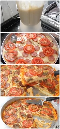 Fast Blender Pizza - Practical and Easy to Make - Receitas - Pizza Recipes, Snack Recipes, Cooking Recipes, Breakfast Pizza, Mixer, Healthy Snacks, Food And Drink, Tasty, Desserts