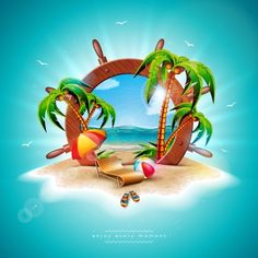Vector Summer Holiday Illustration with Ship Steering Wheel and Exotic Palm Leav. Summer Banner, Summer Clipart, Summer Poster, Blue Sky Background, Cartoon Stickers, Holiday Themes, Exotic Plants, Clipart Images, Summer Colors