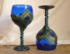 Peacock Feather Goblets - oh wow, these are stunning - can you imagine setting an entire table with these?:) OK - well, I'll settle for a set of two:)