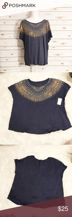 Lucky Brand navy gold feather abstract tee Very pretty . Brand new with tags . See photo for sure don't details . Size 3X Lucky Brand Tops Blouses