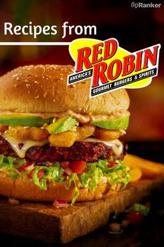 Here is a list of recipes for items on Red Robin's menu! Find out how you can make Red Robin's Campfire sauce and some other great Red Robin sauces at home! Theses Red Robin copycat recipes are absolutely delicious. Burger Recipes, Sauce Recipes, Gourmet Recipes, Cooking Recipes, Easy Recipes, Fondue Recipes, Cooking Ideas, Red Robin Menu, Red Robin Recipes