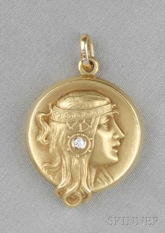 Art Nouveau 14kt Gold and Diamond Locket