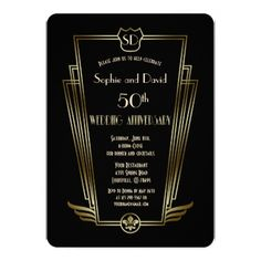 Royal Gold Art Deco Monogram Wedding Anniversary Card - wedding invitations cards custom invitation card design marriage party