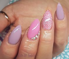 Pink and purple almond nails eith sparkle and swarvoski crystals