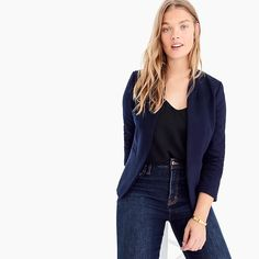 Shop the Going-out blazer in stretch twill at J.Crew and see the entire selection of Women's Blazers. Find Women's clothing & accessories at J. Work Fashion, Fashion Outfits, Fashion Styles, Beach Wardrobe, J Crew Outfits, Coats For Women, Clothes For Women, Professional Wardrobe, Crew Clothing
