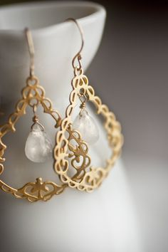 14k Goldfill Moonstone Earrings - FIligree Chandelier Drop. $26.00, via Etsy.