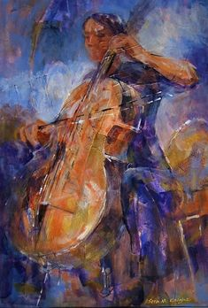 Orchestra Collection - Cello Player - Gallery of Classical Music Paintings by Woking Surrey Artist Sera Knight