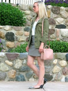 madewell army jacket, striped mini skirt, blush bag, forever 21 accessories, ray ban pink aviators, wardrobe staples, wardrobe remix