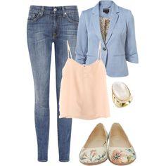 pastel blazer, simple cami, straight leg jeans,& neutral w pastel pattern flats