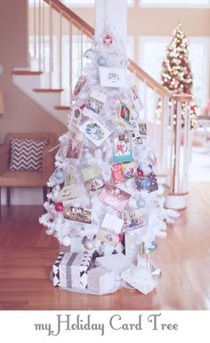 Throughout the holiday season use holiday cards to decorate a spare white Christmas tree. My mother-in-law will love this!