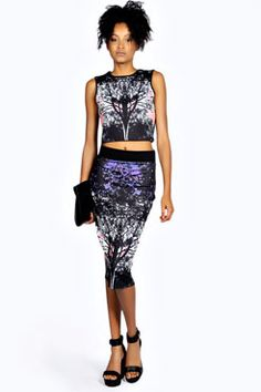 Edie Woodland Print Scuba Top at boohoo.com