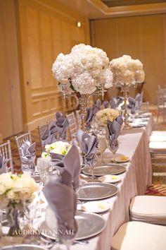 Elegant wedding centerpiece :: white hydrangea  :: Audrey Hannah Photo :: Twigs and Posies
