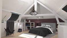 suite parentale sous les combles - création 3D - décoration et aménagement d'espace par Uniq intérieurs - Pays de La Loire - tous droits réservés. Aubergine / chambre / combles / parquet / gris anthracite / design / meuble sur mesure