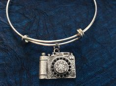 Silver Crystal Camera Expandable Charm Bracelet Adjustable Wire Bangle Photography Handmade Trendy