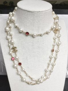 CHANEL CHANEL CC Gold Chain Pearl Crystal Long Necklace 3 sizes pearl, 2 gold CC hardware, red/pink crystal and 2 pearl twist hardware Vintag Chanel Necklace, Chanel Pearls, Gold Pearl Necklace, Chanel Jewelry, Bling Jewelry, Pearl Jewelry, Fashion Necklace, Jewelery, Vintage Jewelry