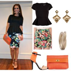 black peplum top floral skirt