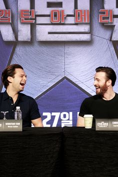 mcavoys:    Sebastian Stan and Chris Evans attend the Captain America: Civil War Korean Press Conference in Singapore on April 22, 2016.