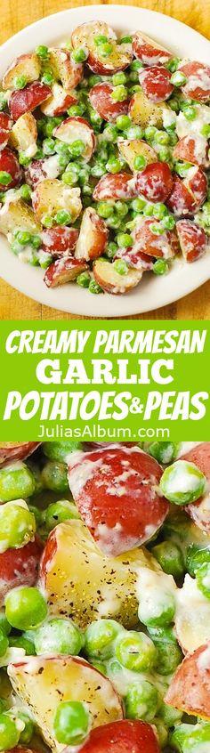 Creamy Parmesan Garlic Potatoes and Peas. Thanksgiving, Christmas Side Dish Recipe