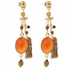 Gas Bijoux Serti Pondichery Earrings | Cornelian stone pendants