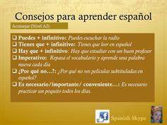 Consejos para aprender español Spanish Classroom, Teaching Spanish, Spanish Words, Posters, Infographics, Facebook, Spanish Language, Language, Learn Spanish