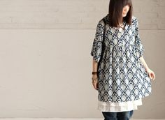 Blue Flower Causel Big Long Shirt  Women's Dress by clothingshow, $48.00