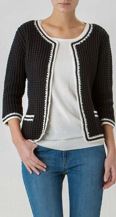 Inspiration for a cardigan/jacket from one of the numerous Chanel style jacket p - Chanel Cardigan - Ideas of Chanel Cardigan - Inspiration for a cardigan/jacket from one of the numerous Chanel style jacket patterns in Burda Style magazine. Gilet Crochet, Crochet Cardigan Pattern, Burda Style Magazine, Chanel Style Jacket, Diy Kleidung, Crochet Designs, Crochet Patterns, Crochet Ideas, Free Crochet