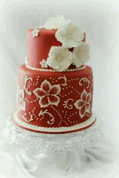 Simple red and white cake.