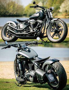 Thunderbike Old Style, Harley-Davidson Softail Slim Springer #Bobber. More photos of the bike here:www.thunderbike.de/galleries/tb_galleries/crossbones_oldstyle.php #Harley-Davidson #Slim #Softail #springer