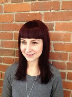 Red Violet Hair Color and Blunt Bangs. Hair By Tiffany Shuck
