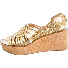 dabb5340ba32 Pre-owned Tory Burch Metallic Wedges ( 75) ❤ liked on Polyvore featuring  shoes