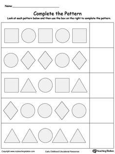 early childhood math worksheets - Pattern Worksheets Kindergarten Printable