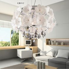 Flower crystal pendant chandelier