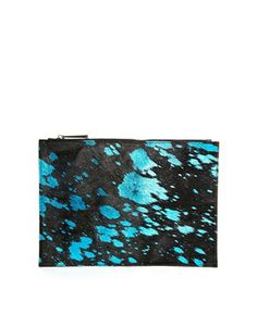 Leather Clutch Bag In Pony