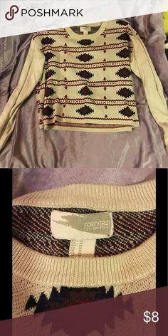 Patterned sweater soft tight knit sweater Forever 21 Sweaters Crew & Scoop Necks