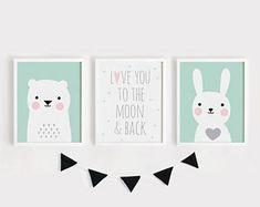 Imprimibles infantiles arte conjunto de la habitación de bebé de cartel 3 arte de la pared Kids salón de decoración infantil habitación arte menta gris oso y conejo imprimir conjunto