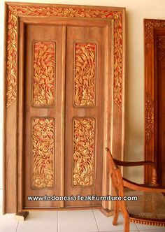 Carved Wood Door Indonesia Bali Traditional Balinese Carvings Ethnic