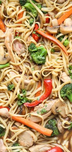 Stir-fry with pasta, chicken, peppers, mushrooms, and broccoli. All mixed with a homemade sauce. #stirfry #noodles #chicken #vegetables